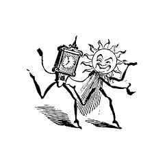 おしゃれでかわいい太陽と時間の悪業カリカチュアpop広告