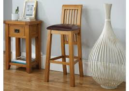 westfield oak kitchen stool with brown leather seat pad spring