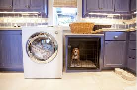 dog crate built-in laundry room