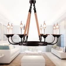 8 light rope iron chandelier 8135 d8