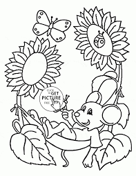 Spring Coloring Pages Printable Valid Cute Mouse And Page For Kids