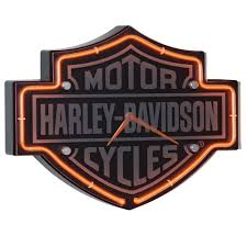 harley davidson etched bar shield shaped neon clock