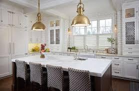 industrial pendant lighting for kitchen. Brown Kitchen Island With Brass Industrial Pendant Lights Lighting For T