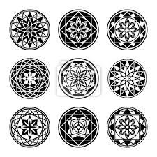 Fototapeta Mandala Prvky Ikona Tetování Set Star Květinový Stylizovaný