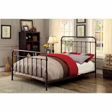 Metal Twin Size Platform Bed with Headboard Footboard Deep Bronze