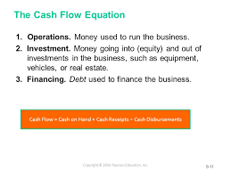 the cash flow equation operations money used to run the business