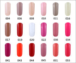Gelartist Gelish Gel Nail Polish Colour Swatch Charts