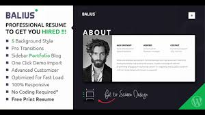 Balius Resume And Vcard Wordpress Theme Themeforest Website