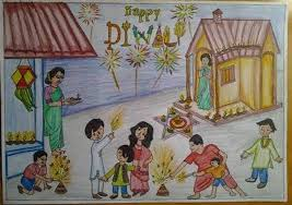 diwali drawing for cl 2 diwali paintings how to draw a diwali drawing 2018 diwali paintings