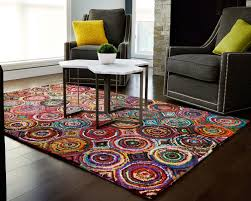 awesome decorative rugs for living room colorful geometric area grey fabric armless sofa chair brown wooden laminate flooring amazing decorating ideas rug