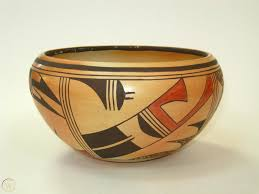 Myra Daniels Hopi Polychrome Bowl Parrot Design-Native American Pueblo  Pottery   #1828537783