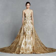 White Wedding Dress With Gold Embroidery