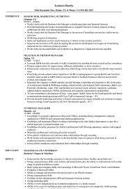 Nutrition Resume Samples Velvet Jobs