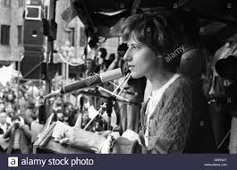 Petra Kelly speaking. Demonstration of the peace movement against new Stock  Photo - Alamy