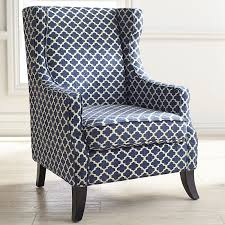Wingback Chair Alec Navy Blue Trellis Wing Chair Pier 1 Imports