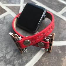 apple iwatch red vegan leather band