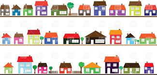 Colorful Cartoon Houses Motley Street Stock Vector Image