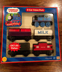 nib rare retired thomas wooden railway 5 car value pack 1992troublesometruck early 1992 troublesome truck