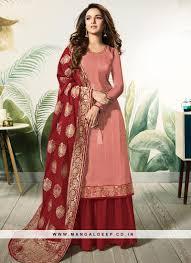Satin Silk Dress Designs Fabulous Pink Color Designer Salwar Suit In Satin And Silk