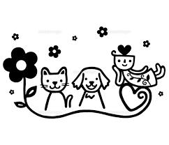 花と動物とキャラクターモノクロ02221000209の写真素材イラスト