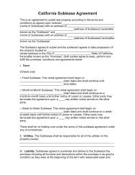 Apartment Sublease Template Free Rental Lease Agreement Pdf Word Do It Yourself Forms Sublease