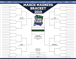 Printable Ncaa March Madness Tournament Bracket 2019