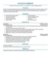 Sample Resume For A Receptionist Receptionist Resume Sample Writing Guide Rg Sample Resume Ideas