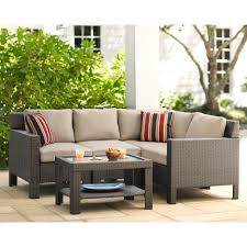 patio couch set. Hampton Bay Beverly 5-Piece Patio Sectional Seating Set With Beige Cushions Couch