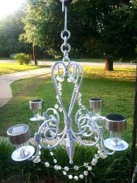 garden candle chandeliers my homemade outdoor glitzy solar chandelier cut off stems of dollar solar