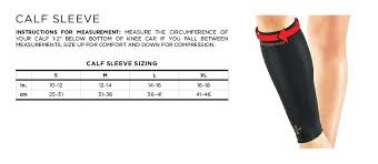 Elbow Sleeve Size Chart Copper Fit Elbow Size Chart Calf Sleeve Sizing Chart