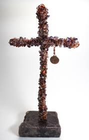 iron wall cross love: copper cross made with amethyst copper swarovski crystal the cross is mounted