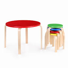 Table Set For Kids Ikayaa Cute Solid Wood Round Kids Table And 4 Chairs Set Furniture