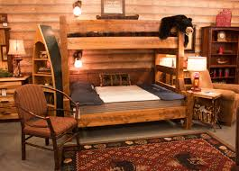 Pine Log Bedroom Furniture Viking Log Furniture Northwoods Twin Over Queen Bunk Bed