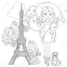 Parisvector 線図に犬とベクトルのかわいいファッションの女の子はがき印刷や大人の塗り絵をスケッチします