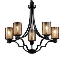 cascadia lighting fusion argyle 28 in 5 light matte black wrought iron mercury glass