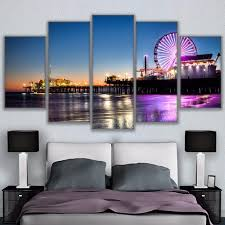 canvas modular pictures frame wall art 5 panel los angeles city at night hd print painting on wall art stores los angeles with canvas modular pictures frame wall art 5 panel los angeles city at