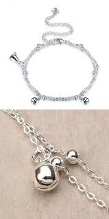 women jewelry silver plated anklet bell
