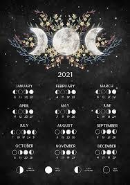 2021 Lunar Calendar Printable, Witchy Calendar 2021, moon calendar 2021 A3,  A4 and A5, Wicca Poster Decor, Moon Phases, witch wall art | Calendar  printables, Moon calendar, Lunar calendar