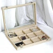 linen metal clip jewelry display case with glass top lid wooden watch