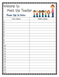 Meet The Teacher Sign In Sheet And Contact Card Tpt
