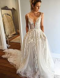 buy a line deep v neck court train ivory tulle wedding dress with