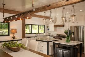 image of rustic copper and glass lighting kitchen