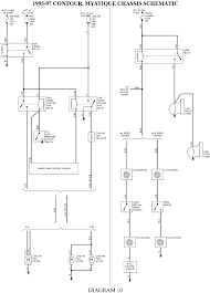 mystique 4 cyl on low speed passenger side wiring diagram 1995 contour wiring harness 1995 Contour Wiring Diagram 12 1995 97 contour, mystique, chassis schematic