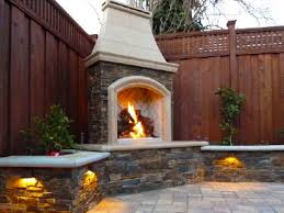 image of outdoor masonry fireplace design