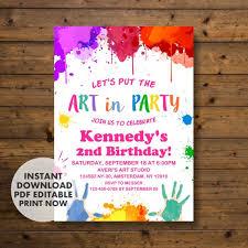 Art Party Invitation Art Birthday Party Invitation Instant