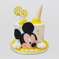 yellow mickey mouse cake