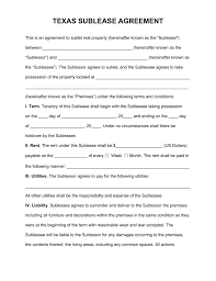 Basic Sublet Agreement Free Texas Sublease Agreement Form PDF Word EForms Free 5