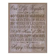 lifesong milestones 40th wedding anniversary wall plaque gifts for couple 40th anniversary gifts for her