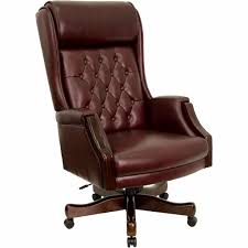 P Embroidered High Back Traditional Tufted Burgundy Leather Executive Chair