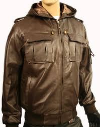 mens hooded brown leather jacket alaskan
